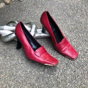 Escada Red Leather Loafer Pump Gold Tip Heel Italy